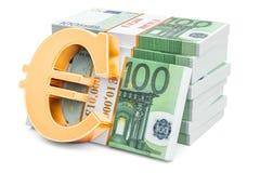 Euro pakuje z złotym euro symbolem, 3D rendering Zdjęcia Royalty Free