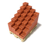 Euro pallet and cascade arranged ceramic bricks. 3D render illustration  on white background Royalty Free Stock Images