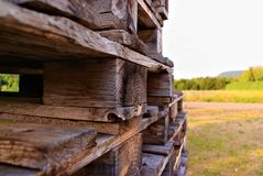 Euro pallet with nature as background stock photography