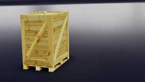 Euro pallet with transport box for logistics applications 3d ill. Ustration Royalty Free Stock Photo
