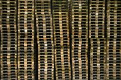 Euro pallets. Stacks of wooden euro pallets Royalty Free Stock Image