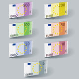 Euro paper bill banknotes with shadows Stock Image