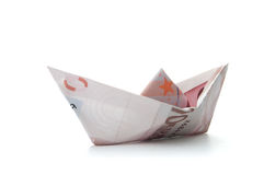 Euro paper boat Royalty Free Stock Photography