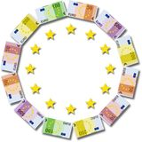 Euro paper currency in circle shape with stars Royalty Free Stock Photo