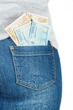 Euro. Paper money in the pocket of jeans. Stock Photo