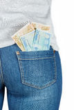 Euro. Paper money in the pocket of jeans. Stock Photography