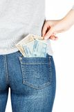Euro. Paper money in the pocket of jeans. Royalty Free Stock Photos