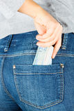 Euro. Paper money in the pocket of jeans. Royalty Free Stock Images