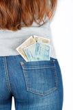 Euro Papiergeld in de zak van jeans Royalty-vrije Stock Afbeeldingen