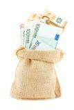 Euro papierowy pieniądze w bieliźnianej torbie Zdjęcia Royalty Free