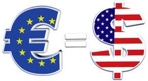 Euro parity with Dollar. The Euro approaches parity with the Dollar on financial exchange markets Royalty Free Stock Photos