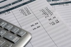 Euro Pay slip and calculator. Close up for payroll or salary background, french mention Net to pay Stock Image