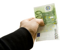 Euro payment. Payment by one hundred euro bill Royalty Free Stock Photos