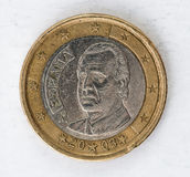 1 euro pièce de monnaie avec le regard utilisé par postérieur d'espania Photographie stock libre de droits