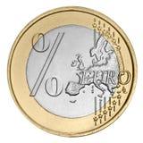 Euro pièce de monnaie avec le signe de pour cent Images libres de droits