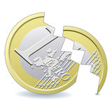 Euro pièce de monnaie cassée Image libre de droits