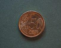 Euro pièce de monnaie d'EUR, actualité d'UE d'Union européenne Image libre de droits