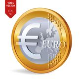 Euro pièce de monnaie pièce de monnaie 3D physique isométrique avec l'euro symbole d'isolement sur le fond blanc Illustration de  Photographie stock libre de droits