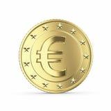 Euro pièce de monnaie d'or sur le fond blanc Photographie stock libre de droits