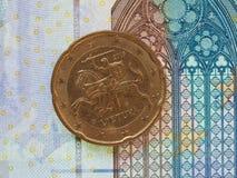 euro pièce de monnaie de 20 cents de Lithuanie Photo libre de droits
