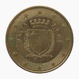 Euro pièce de monnaie de Malte Photographie stock