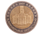 Euro pièce de monnaie spéciale de Sarre Allemagne Images stock