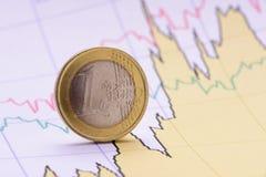 Euro pièce de monnaie sur le diagramme de finances Photos stock