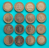 1 euro pièce de monnaie, Union européenne Image libre de droits