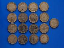 1 euro pièce de monnaie, Union européenne Images libres de droits
