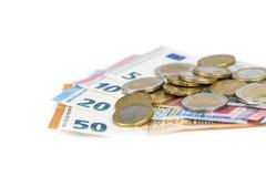 Euro pièces d'argent et billets de billets de banque Photo libre de droits