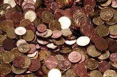 Euro pièces de monnaie - cents 10, 20, 5, 2 et 1. Photo stock