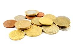 Euro pièces de monnaie d'argent de cent photos stock