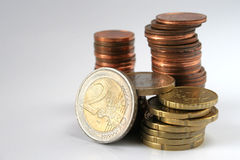 Euro pièces de monnaie d'isolement Photographie stock