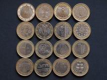 Euro pièces de monnaie de beaucoup de pays Photo libre de droits