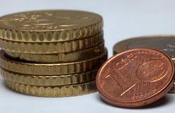 Euro pièces de monnaie de cent Photo libre de droits
