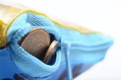 Euro pièces de monnaie de cent dans la pochette Photographie stock