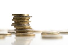 Euro pièces de monnaie empilées Photos libres de droits