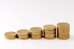 Euro pièces de monnaie empilées vers le haut Images libres de droits