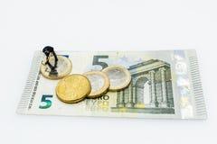 Euro pièces de monnaie, figure, billet de banque Photo libre de droits