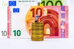 Euro pièces de monnaie, figure, billet de banque Images libres de droits