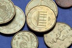 Euro pièces de monnaie Porte de Brandebourg Images stock