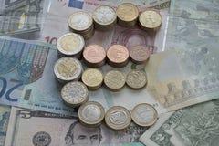 Euro pièces de monnaie sous forme d'euro signe photos libres de droits