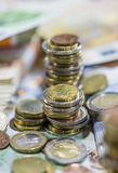 Euro pièces de monnaie (tir en gros plan) Photo libre de droits