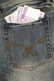 euro pięćset notatek kieszeń Zdjęcie Stock