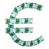 EURO pictogram van euro bankbiljetten Stock Afbeeldingen