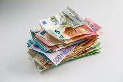 Euro pieniądze banknotów euro euro waluta Łgarski luźny euro bankno Zdjęcia Stock