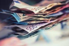 Euro pieniądze banknotów euro euro waluta Łgarski luźny euro bankno Obrazy Royalty Free