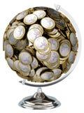 Euro pieniądze kula ziemska odizolowywająca na biały tle Obrazy Stock