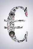 Euro pieniądze z auto częściami dla samochodu Zdjęcie Stock