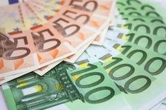 Euro pieniędzy banknoty fotografia stock